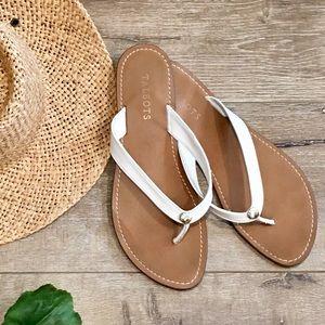 Talbots White Patent Seashell Flip Flops